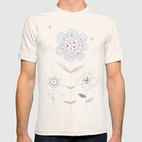 Flowers Mens Fitted Tee Natural SMALL