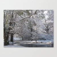 Canvas Print featuring winter pond by Joy Reyes