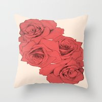 Tattoo Rose | Floral  Throw Pillow
