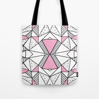 Abstract Spots and Stripes Pink Tote Bag