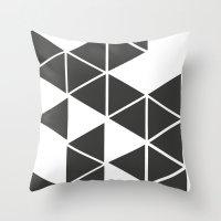 T R I _ N G L S (BLK) Throw Pillow