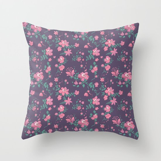 Flowers and Skulls Throw Pillow