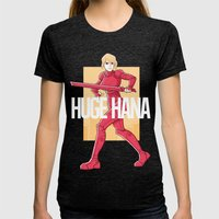 Huge Hana - Official Merch Series I Womens Fitted Tee Tri-Black SMALL