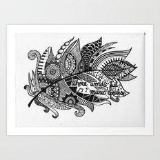 Zentangle Feather Art Print
