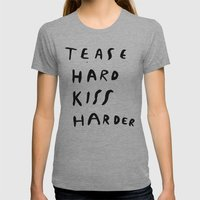 WORK HARD, PLAY HARDER Womens Fitted Tee Athletic Grey SMALL
