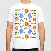 Happy Animals Mens Fitted Tee White SMALL