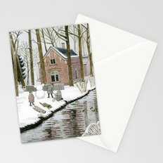 Children Building A Snowman Stationery Cards