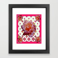 Decorative Pink-White Antique Yellow Rose Art Framed Art Print