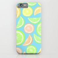 iPhone & iPod Case featuring Mixed Citrus - blue by Lisa Argyropoulos