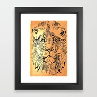 Lion Elaborate Framed Art Print