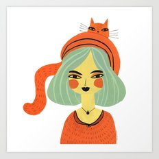 CAT BONNET Art Print
