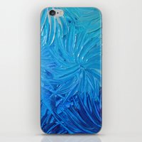 WATER FLOWERS 2 - Stunning Ocean Beach Waves Floral Abstract Acrylic Painting Turquoise Blue Navy iPhone & iPod Skin