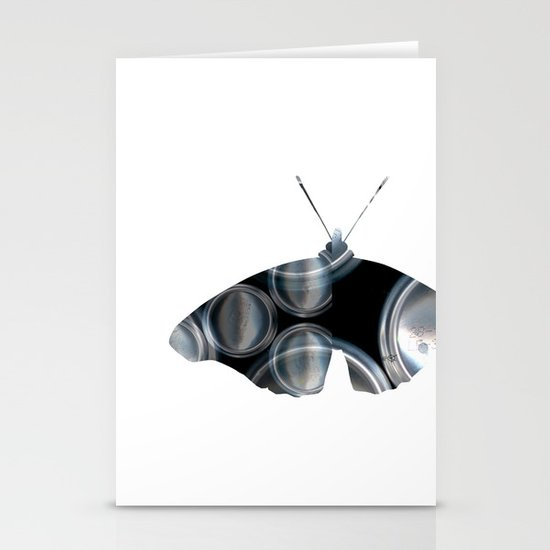 Metal Can Butterfly Collage Stationery Card
