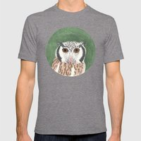 Long Eared Owl Mens Fitted Tee Tri-Grey SMALL