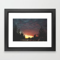 southbound skies. Framed Art Print