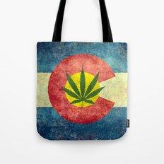Retro Colorado State flag with the leaf - Marijuana leaf that is! Tote Bag