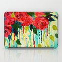 ROSE RAGE Stunning Summer Floral Abstract Flower Bouquet Feminine Pink Turquoise Lime Nature Art iPad Case