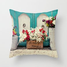 Vintage + Flowers  Throw Pillow