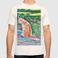 Orange cat sitting on a path in rural Queensland, Australia Mens Fitted Tee Natural SMALL
