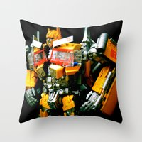The Golden Optimus Throw Pillow