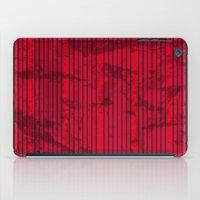 Grunge Blue stripes on bold red background illustration. iPad Case