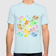 Colorful Birds Mens Fitted Tee Light Blue SMALL