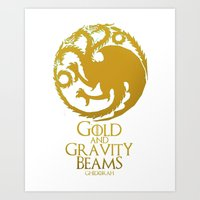 Gold and Gravity Beams Art Print