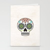 sugar skull Stationery Cards featuring Sugar Skull by Liz Urso