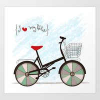 I {❤} My Bike Art Print