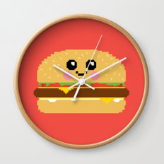 Happy Pixel Hamburger Wall Clock
