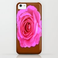 iPhone 5c Cases featuring Magenta-Pink Abstracted Rose Coffee Brown  Design by sharlesart