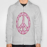 Peace Sign With Flowers In Pink Hoody