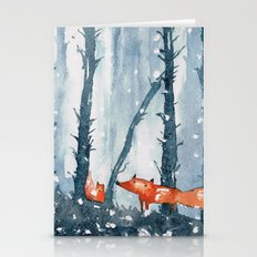 Foxes In Forest Stationery Cards