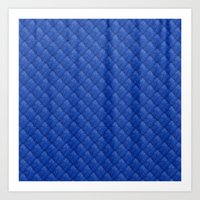Blue Diamond Pattern Cur… Art Print