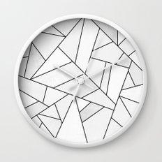 White Stone / Black Lines Wall Clock