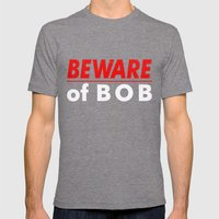 Beware Of BOB Mens Fitted Tee Tri-Grey SMALL