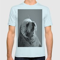 Howth Harbour Seal Mens Fitted Tee Light Blue SMALL