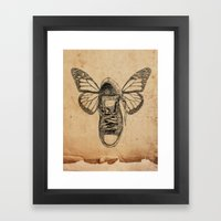 Flying sneakers Framed Art Print