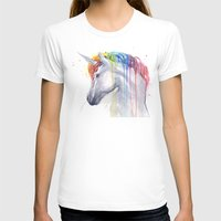 Rainbow Unicorn Watercolor Womens Fitted Tee White SMALL