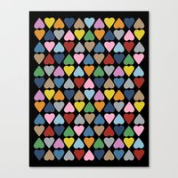 Diamond Hearts On Black Canvas Print