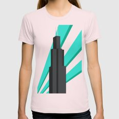 Sears Tower Womens Fitted Tee Light Pink SMALL