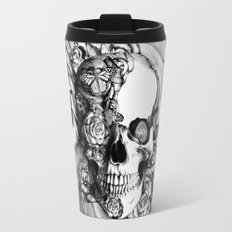 Butterfly rose skull with ladybugs. Good luck Travel Mug