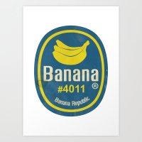 Banana Sticker On White Art Print