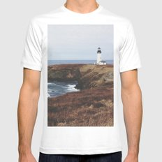 Yaquina Head Lighthouse SMALL White Mens Fitted Tee
