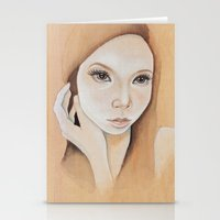 Self Portrait on Wood Stationery Cards