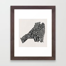 Monmouth County, New Jersey Map Framed Art Print