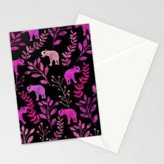 Watercolor Flowers & Elephants III Stationery Cards