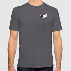 Pocket French Bulldog - Pied Mens Fitted Tee Asphalt SMALL