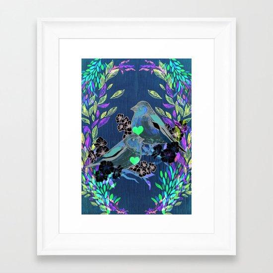 Floral Birds Framed Art Print