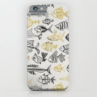 iPhone Cases featuring Inked Fish – Black & Gold by Cat Coquillette